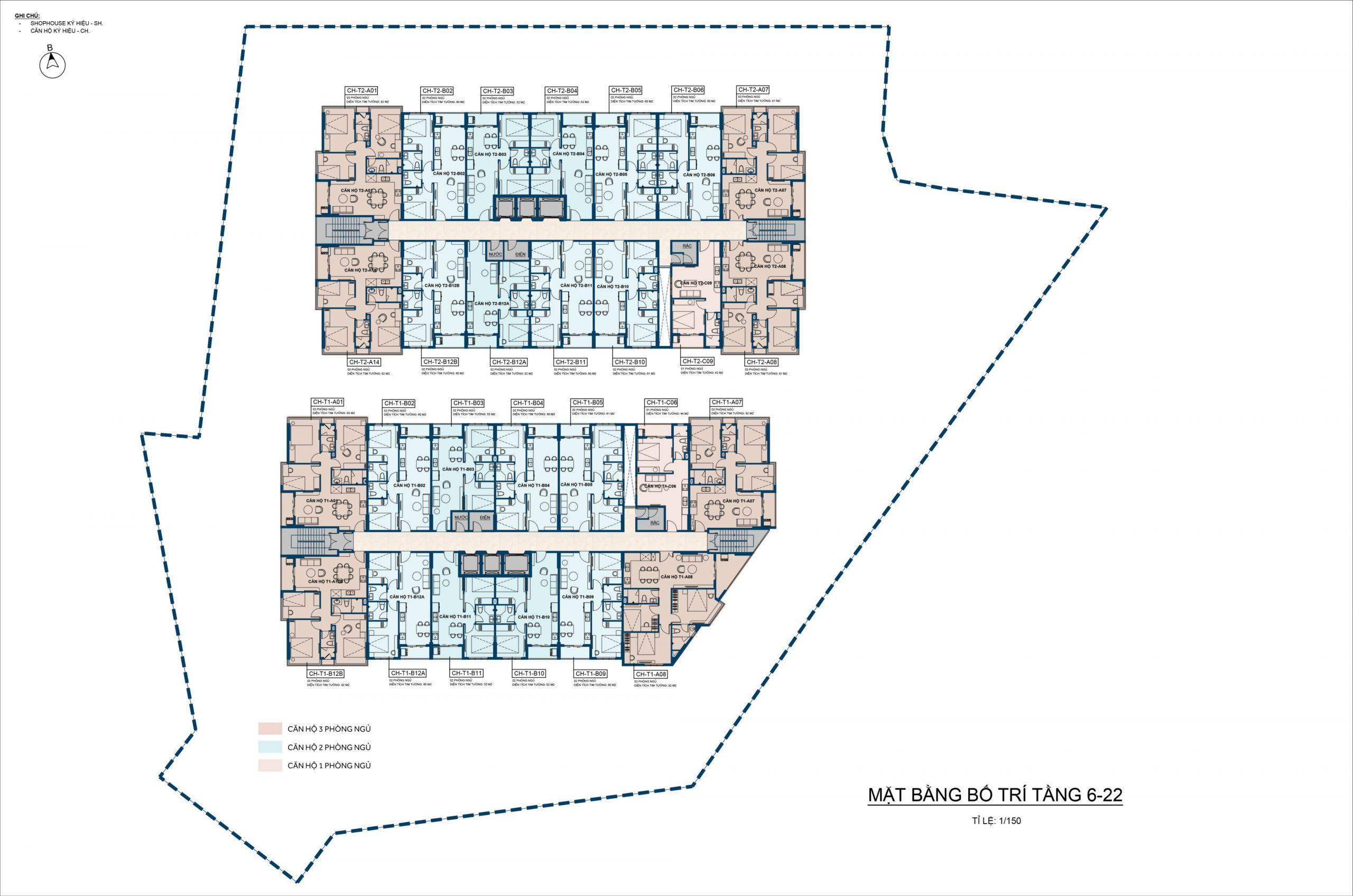Thiên Quân Marina Plaza Mặt Bằng Tầng 6 - 22
