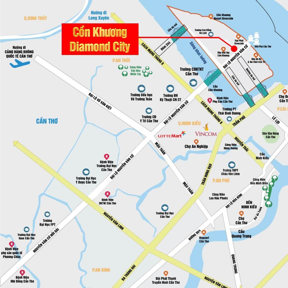 Vị trí Khu đô thị mới Cồn Khương Diamond City