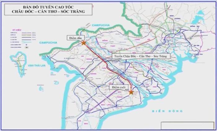 Dự án đường cao tốc Châu Đốc - Cần Thơ – Sóc Trăng đi qua An Giang, Cần Thơ, Hậu Giang và Sóc Trăng được đầu tư theo hình thức PPP, dự kiến khởi công vào năm 2022.